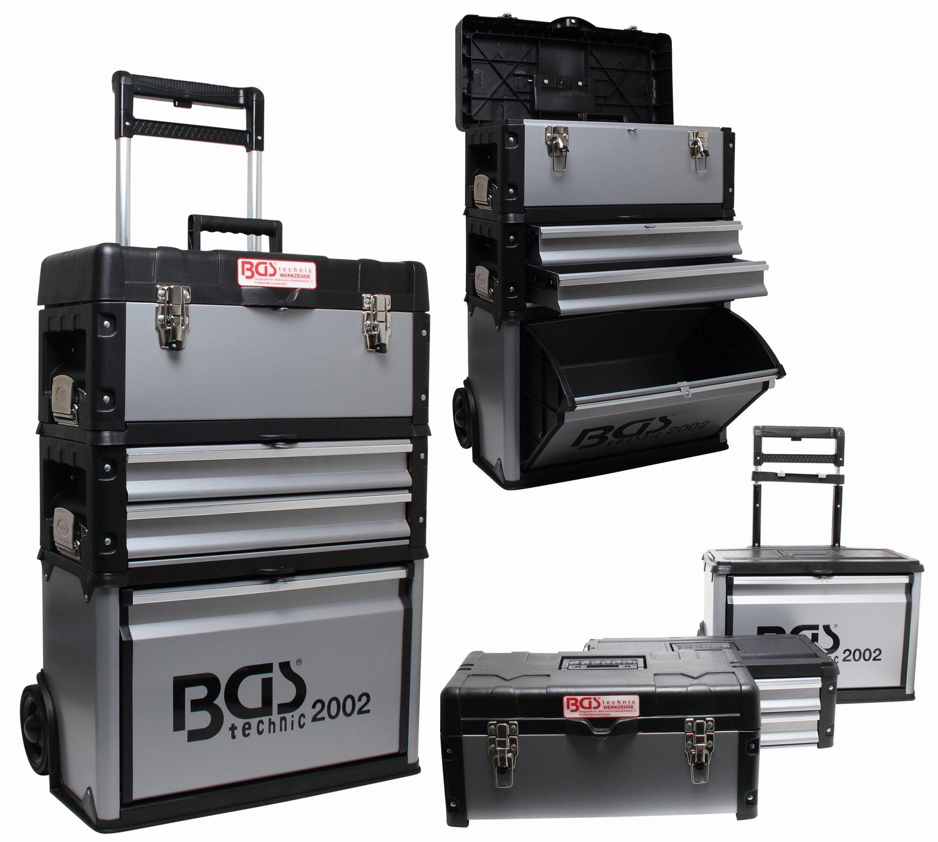 bgs montagewagen werkzeugkiste alu mit rollen werkzeugwagen box werkzeugkasten ebay. Black Bedroom Furniture Sets. Home Design Ideas